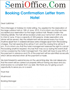 Sample Letter For Booking Confirmation