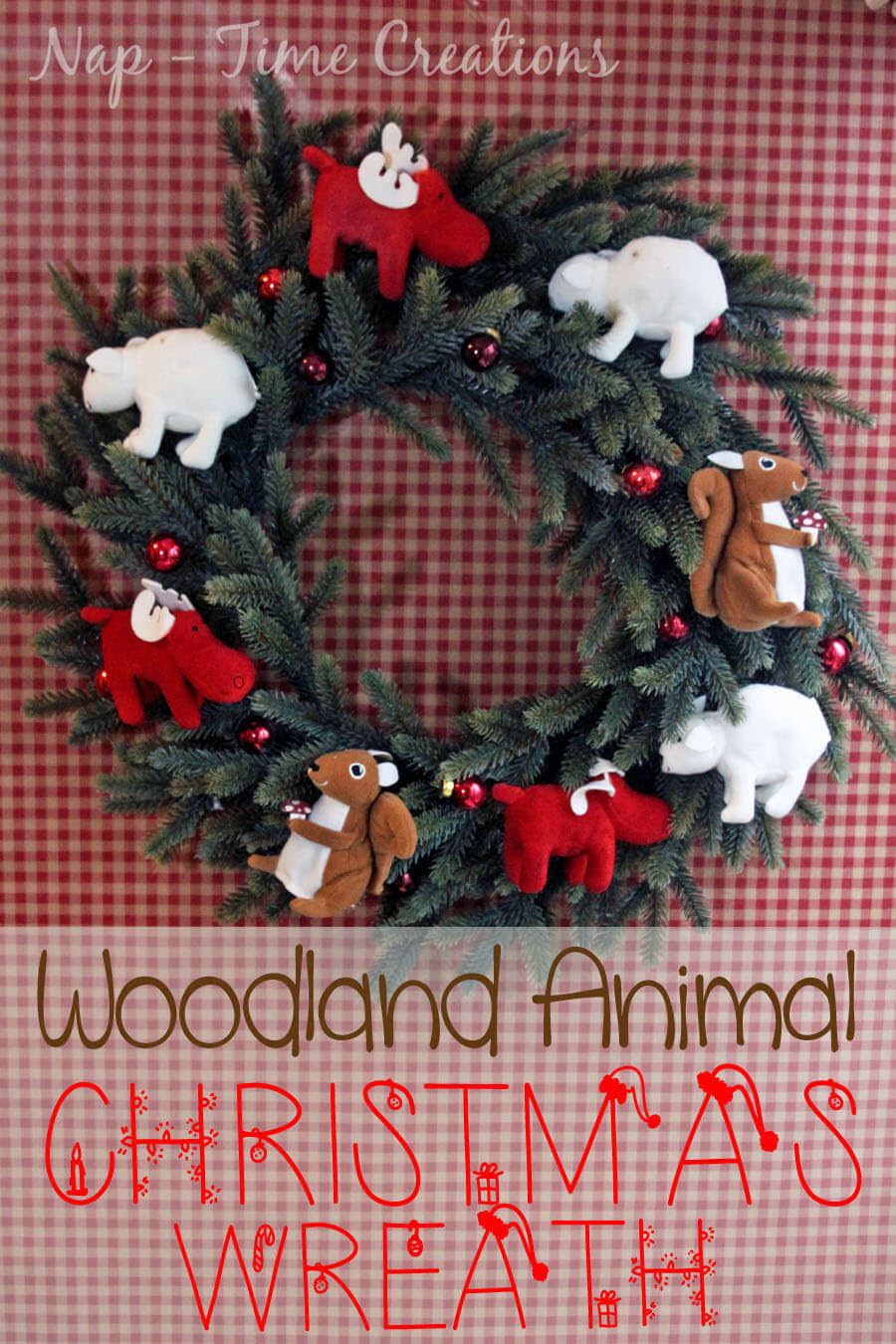 Woodland Animal Christmas Wreath by Nap-Time Creations