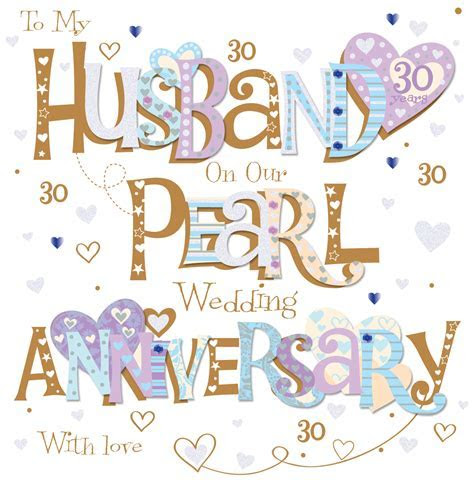 Husband Pearl 30th Wedding Anniversary Greeting Card   Cards