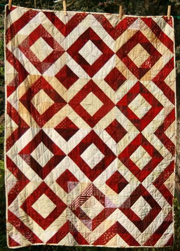 Burgundy and cream Depression Block quilt