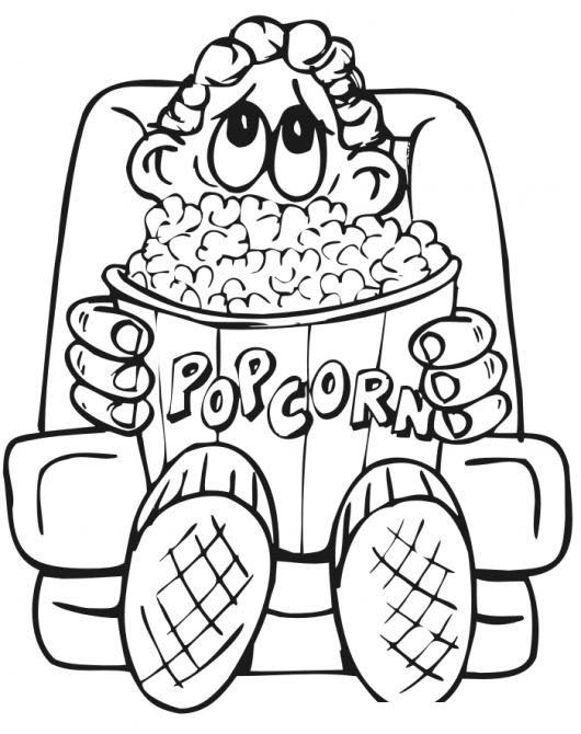 Nino Comiendo Palomitas De Maiz Dibujo Para Colorear Chico En El