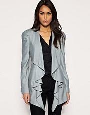 ASOS Premium Ruched Sleeve Drapey Blazer