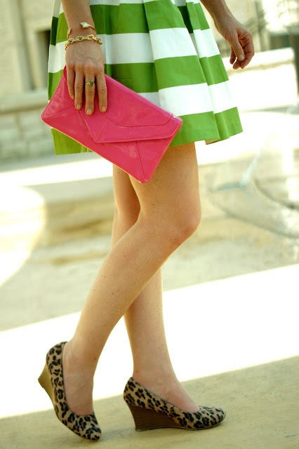 SPRING TIME - Green stripes, a pop of pink and leopard wedges.
