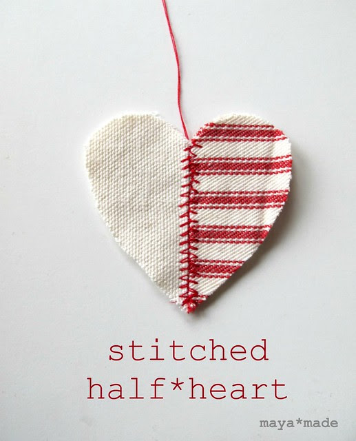 stitched half heart