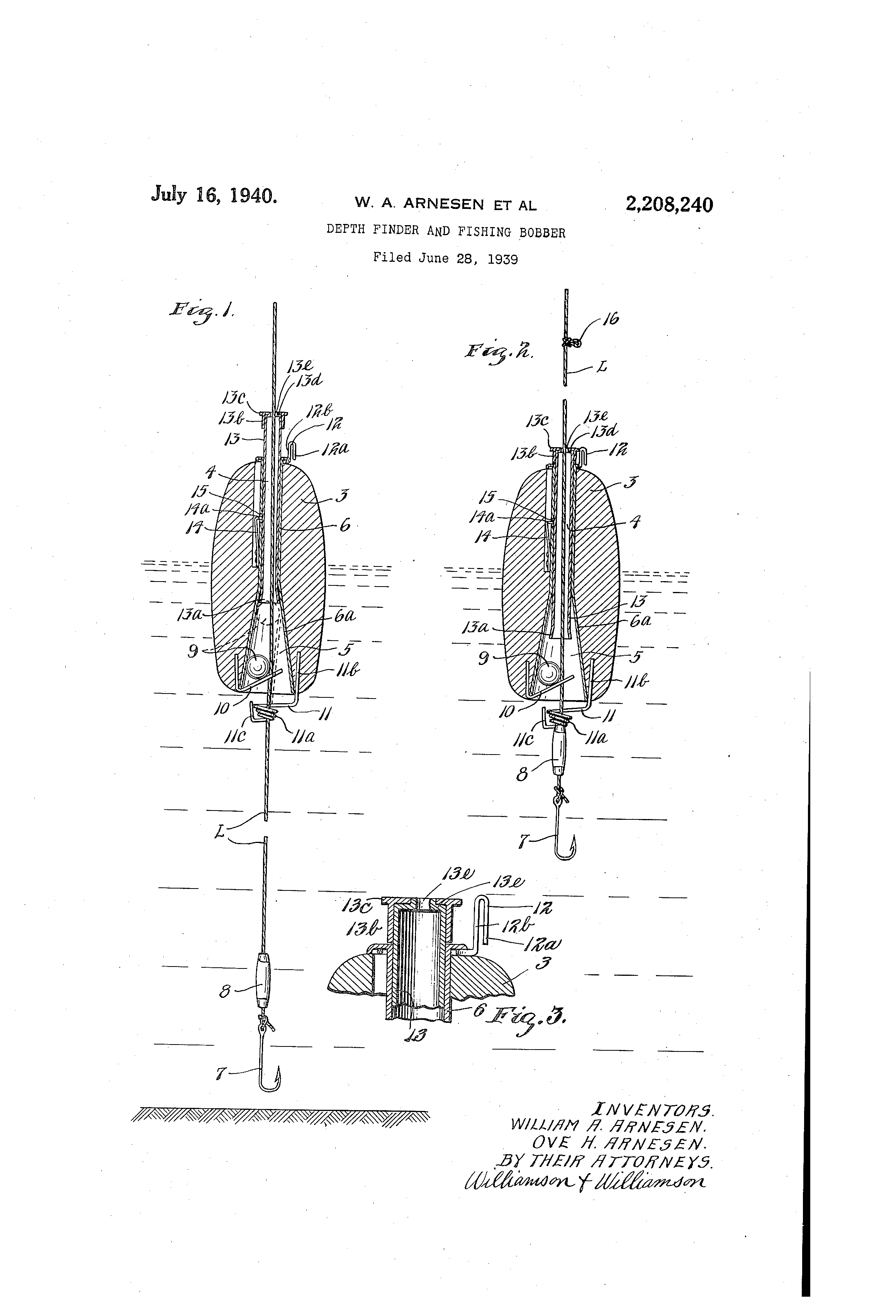 Patent US2208240 - Depth finder and fishing bobber ...