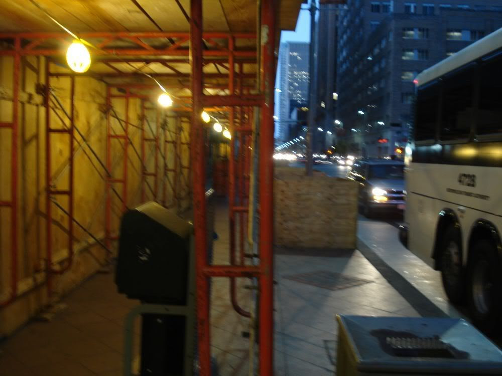 Bus-stop at dawn