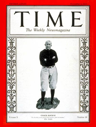 TIME Magazine Cover: Knute Rockne -- Nov. 7, 1927