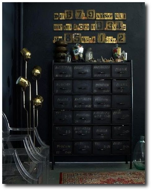 Black Room With A Black Chalkboard Painted Dresser