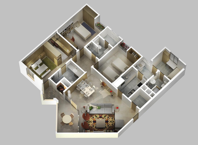 Desain Rumah Minimalis 1 Lantai 5 Kamar Tidur | Arsitekhom