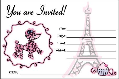 Para hacer Invitaciones, Tarjetas o Marcos para Imprimir Gratis de París con French Poodle