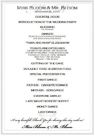Wedding reception program, Wedding reception and