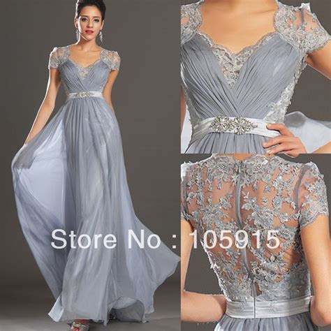 Hot New Elegant Silver Grey Ruched Floor Length Evening