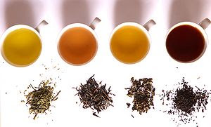 Tea of different fermentation: From left to ri...