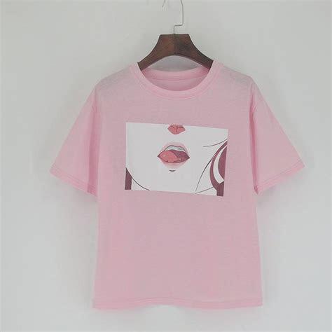 retro aesthetic menhera cute anime lips  shirt ju