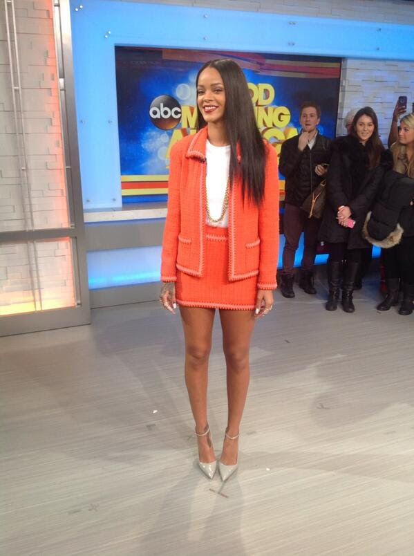 Rihanna-Good-Morning-America-Viva-Glam-Promotion-Orange-Mini-Blazer