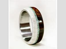 Mens Wedding Band Wood and Antler ring with Turquoise and Titaniu   aftcra