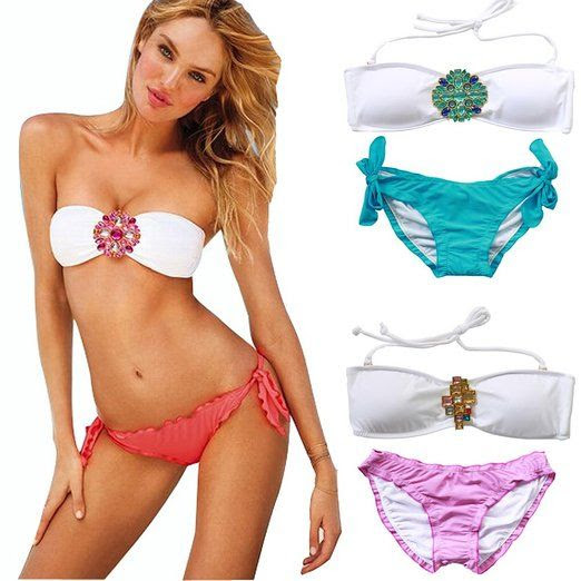 Women Sexy Swimsuit Swimwear Padded Jeweled Crystal Bandeau Top Bottom Bikini at Amazon Women's Clothing store