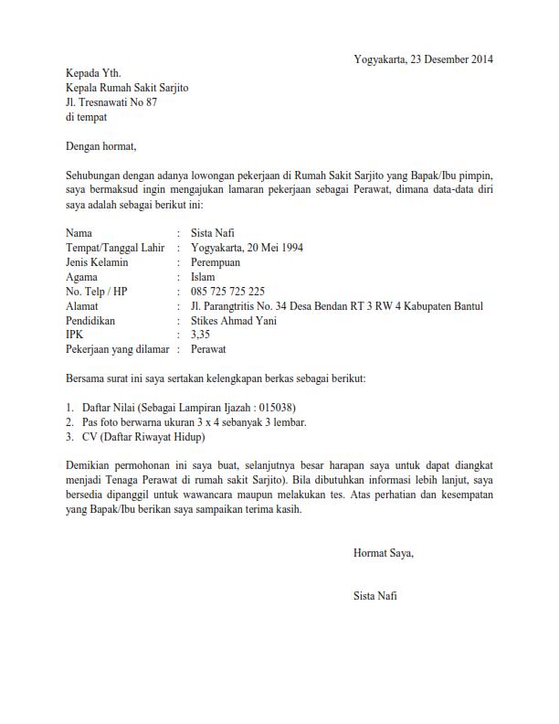 contoh surat lamaran kerja untuk bekerja di rumah sakit