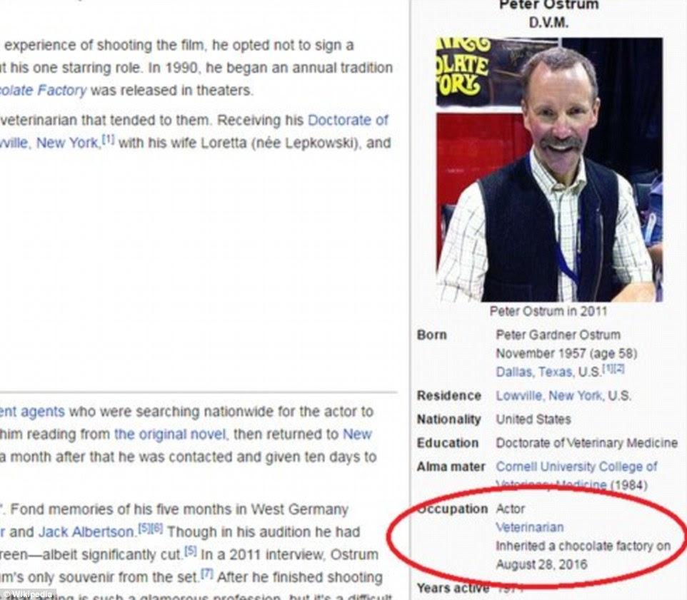 A página da Wikipedia para Peter Ostrum, o ator mirim que interpretou Charlie Bucket, também foi editado brevemente para dizer que ele tinha herdado a fábrica de chocolate que foi prometido no filme