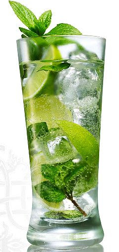 The Original Cuban Mojito Recipe: For each Mojito, you will need:  1 teaspoon of sugar  1 large sprig of Mojito mint*  1.5 oz. white rum - 80 proof  1/2 fresh lime cut in quarters  Club soda  Ice