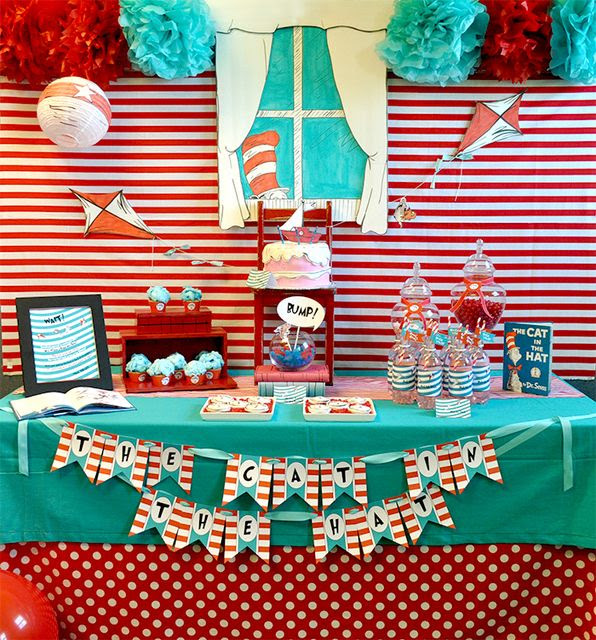 Can you believe this Dr. Seuss dessert table... Incredible! #drseuss #desserttable #party