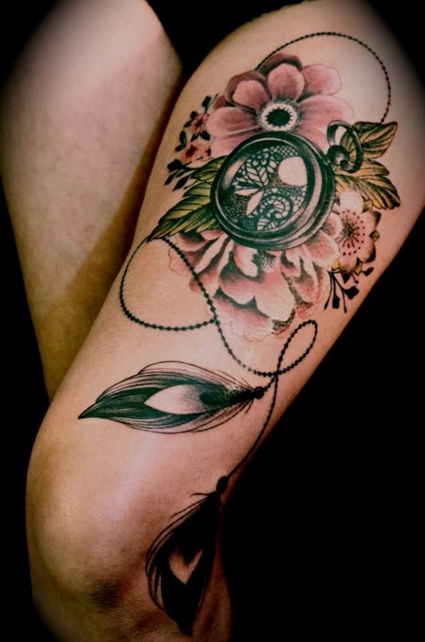 Gorgeous Flowers Compass Tattoo On Leg Tattoomagz