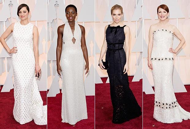 Marion Cotillard de Dior Couture, Lupita Nyong'o de Calvin Klein Collection, Sienna Miller de Oscar de la Renta e Julianne Moore de Chanel Couture (Foto: Getty Images)
