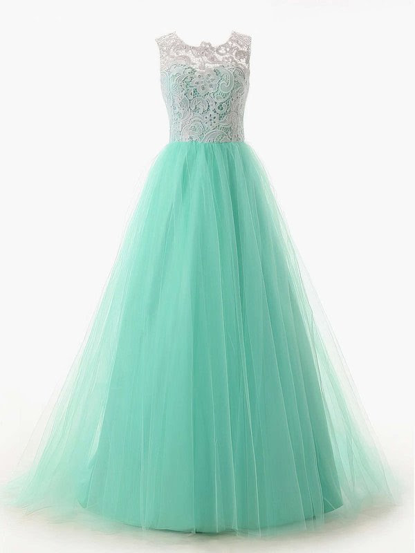 Scoop Neck Green Lace Tulle Ruffles Sweep Train Discounted Prom Dresses #UKM020101174