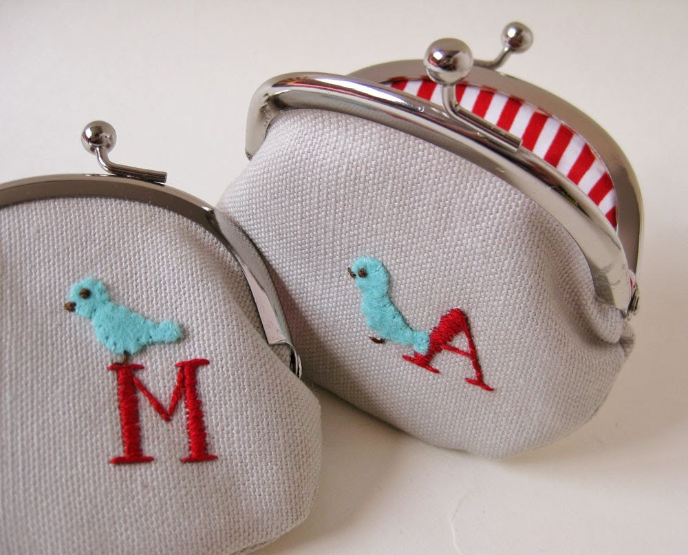 Personalized coin purse red  initial blue bird