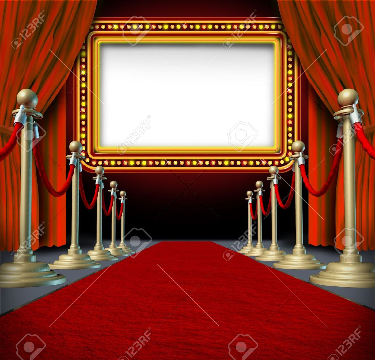 Movie And Theatre Marquee Blank Sign With Elegant Velvet Curtains ...