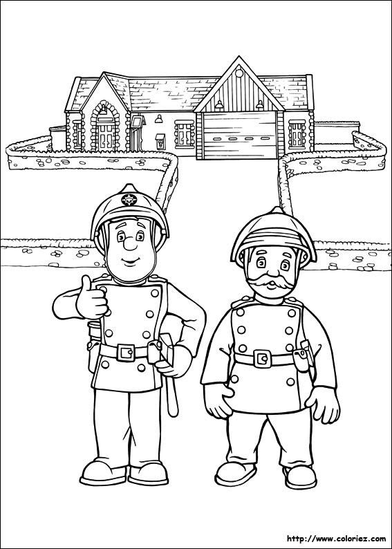 Coloriage Sam Le Pompier Est Dastreinte