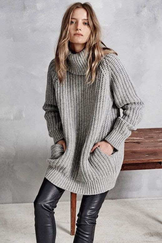 Le Fashion Blog Hunky Dory FW AW 2015 Lookbook Chunky Knit Turtleneck Sweater Pockets Leather Leggings Pants Fall Winter Style