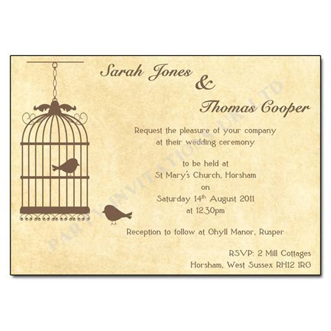 Vintage Birdcage Wedding Invitations   Buy Now with Free