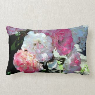 white pink peonies throw pillow