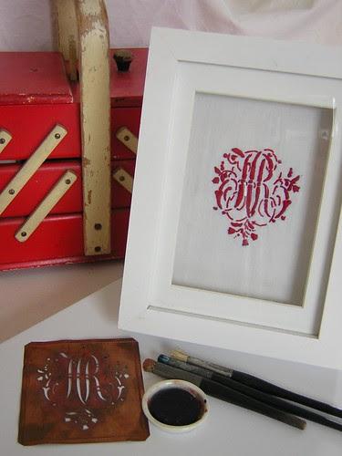 Copper Monogram Stencil and tools