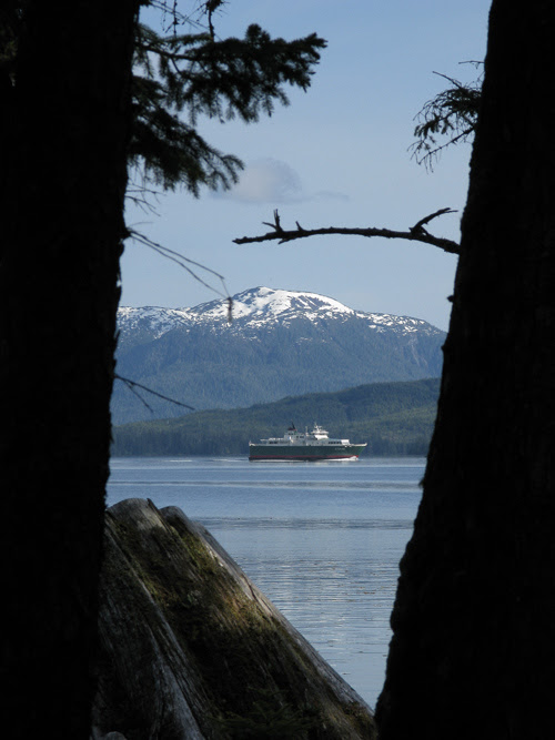 a peek at a ferry through trees, Kasaan, Alaska