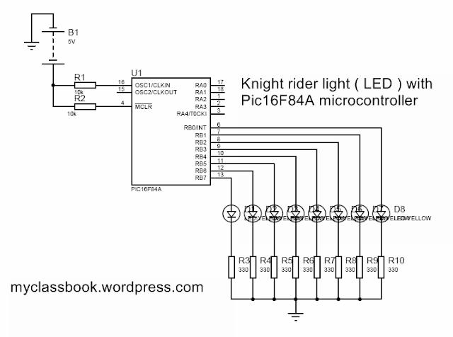 Knight Rider Circuit Diagram Using Microcontroller