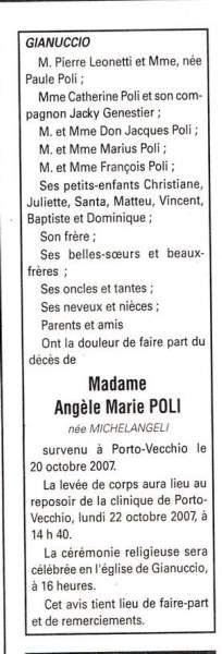 Décès Poli Michelangeli Angèle