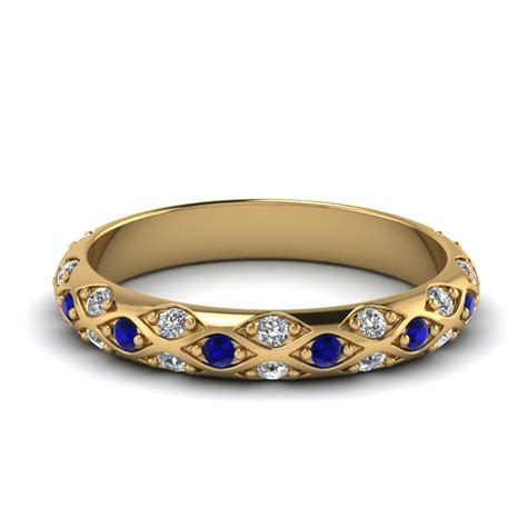 Pave Cross Diamond Wedding Band With Sapphire In 18K