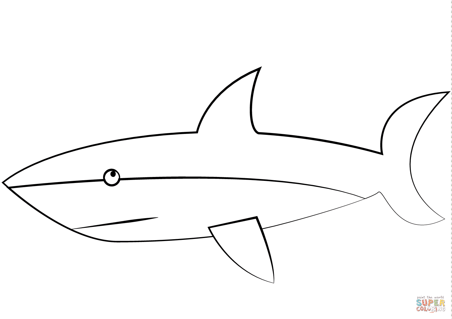Cartoon Great White Shark coloring page | Free Printable ...
