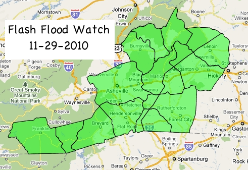 Areas covered by the Flash Flood Watch issued by the National Weather Service in WNC