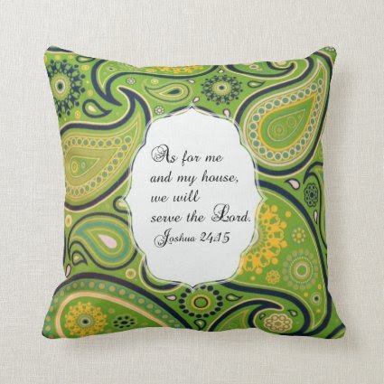 Green Yellow Paisley Pattern Bible Verse Pillow