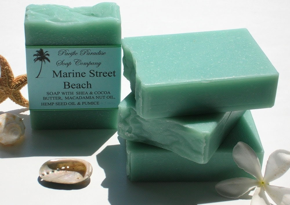 Handmade Soap, Marine Street Beach Seafoam Green colored Soap enriched with Macadamia Nut Oil, Hemp Seed Oil, and Super Fine Pumice
