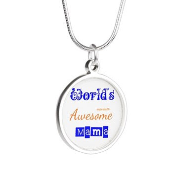 World's Awesome Mama Silver Round Necklaces