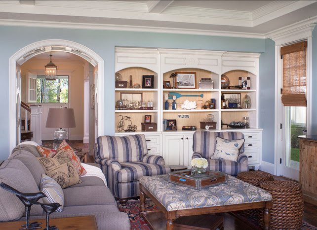 Family Room Design. Comfortable family room design. Paint Color is Benjamin Moore Yarmouth Blue HC-150. #Family Room #BenjaminMoore #YarmouthBlue HC-150