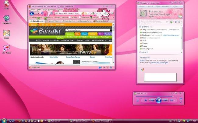 Uma das versões finais do desktop, de acordo com escolhas de papel  de parede, ícones, etc.