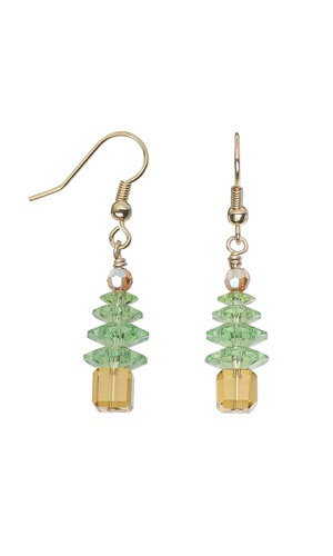 Jewelry Design - Christmas Tree Earrings with Swarovski Crystaland Beads