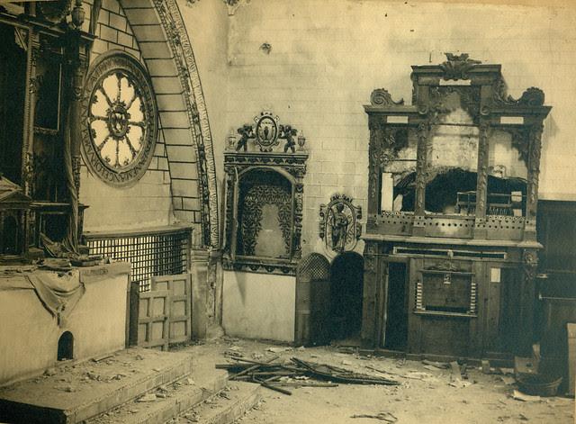 Coro Mayor del Convento de las Concepcionistas destruido en la Guerra Civil. Fotografía de Pelayo Mas Castañeda. Causa de los mártires de la persecución religiosa en Toledo