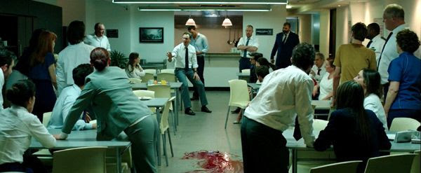 80 employees are forced to take part in a sadistic experiment inside a Colombian high-rise office building in THE BELKO EXPERIMENT.