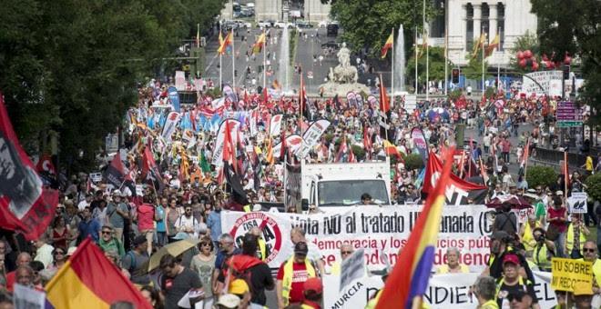 Marchas de la Dignidad que se están celebrando hoy en Madrid y que aglutinan a cuatro columnas procedentes de distintas partes de España, bajo el lema 'Paz, trabajo, techo e igualdad'. EFE/Luca Piergiovanni